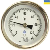 Термометр биметаллический ТБ 63-50 мм осевой 0...+120°С